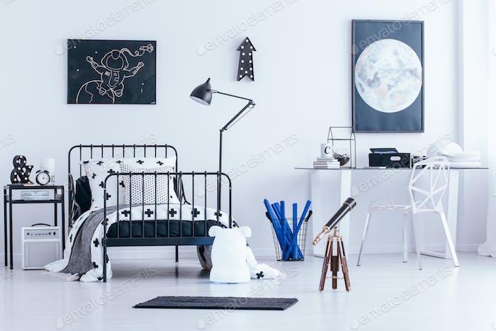 Astronomic bright bedroom interior