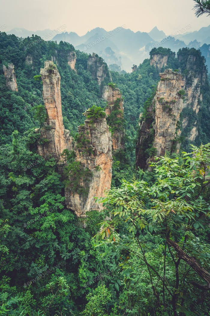 Stone pillars of Tianzi mountains in Zhangjiajie
