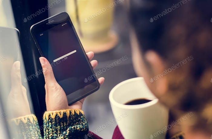 Loading symbol on a smartphone screen