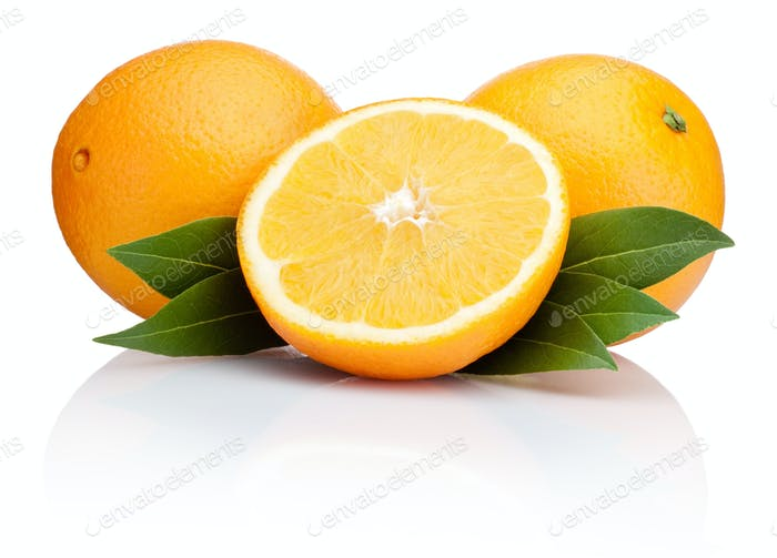 Orange fruit with leaves isolated on white background