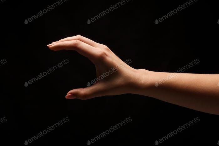 Female hand measuring something, cutout, gesture