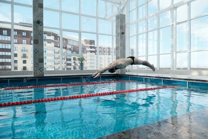 Jumping in swimming pool