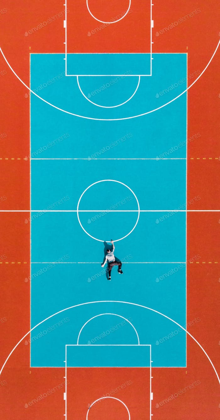 Man Hanging Down From Basketball Court Line, Creative Minimal Ar