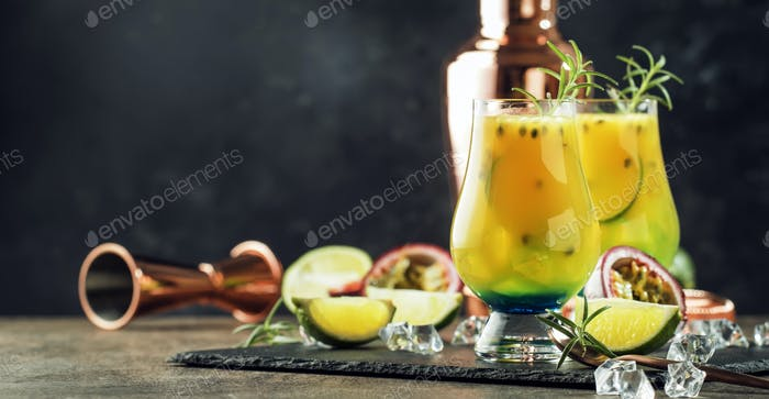 Summer passion fruit, lime and rosemary cocktail