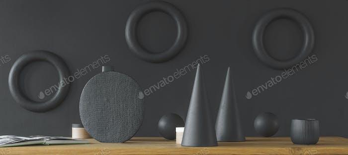 Dark interior with geometric shapes
