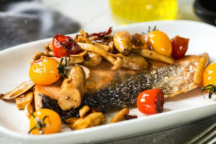 Grilled Salmon with Sautéed Mushrooms and Cherry TomatoesSalmon with mushroom