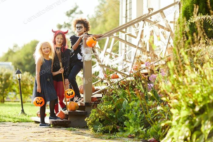 Group of Kids Posing on Halloween
