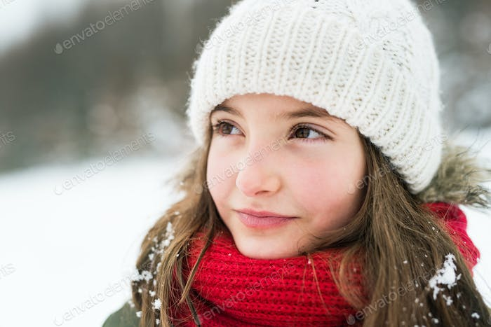 Portrait of a small girl in winter nature.