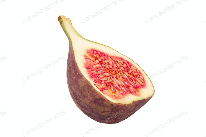 Half of fresh fig on a white background
