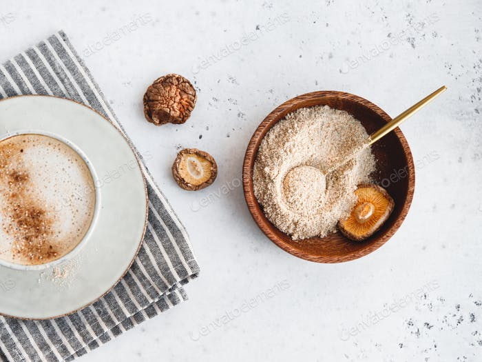 Powder is made from Chinese dried mushrooms Shiitake
