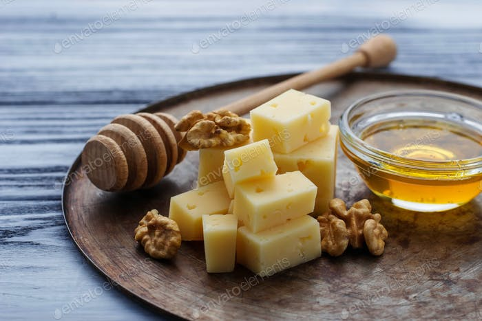 Cheese, nuts and honey