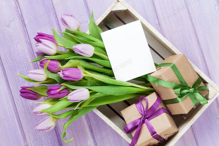 Purple tulips and gift boxes