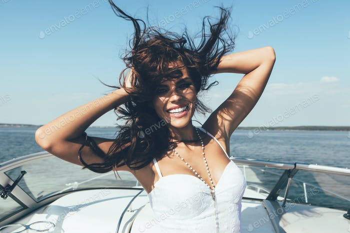 happy  woman smiling on boat