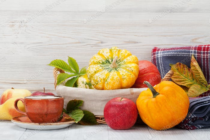 Autumn still life card with fruits