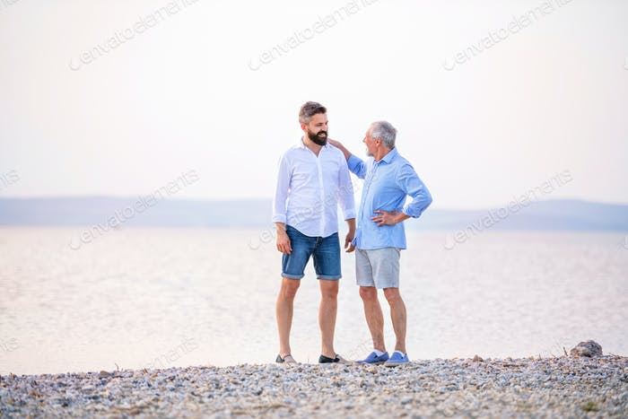 Senior father and mature son standing by the lake. Copy space