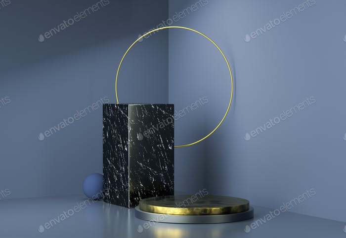 3d rendering stage display background, golden ring, marble stand