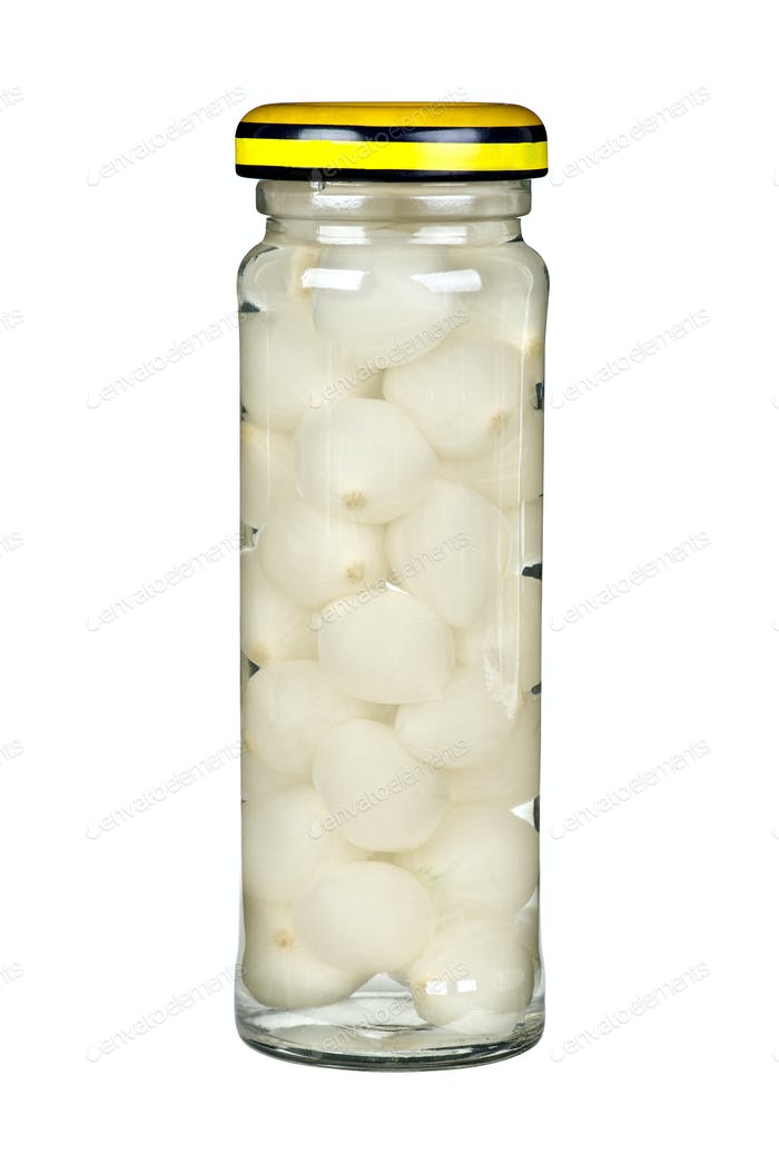 Glass jar with marinated onions