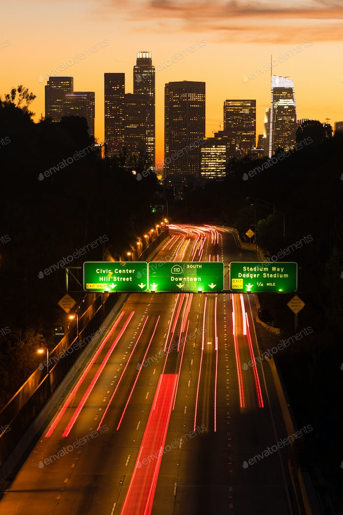 Los Angeles Downtown City Skyline Rush Hour Traffic Dusk
