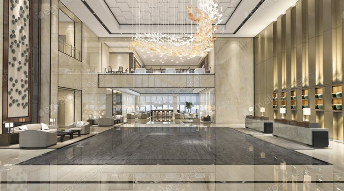 3d rendering luxury hotel reception hall and lounge restaurant