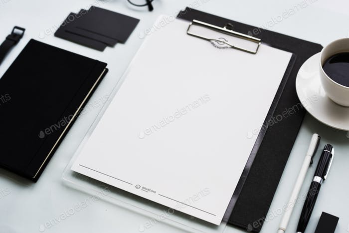 Closeup of black and white stationery