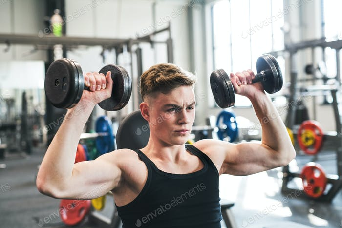Young fit man in gym exercising with dumbbells.