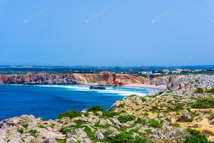 Thumbnail for Ocean wave background. Cliff coastline in Sagres, Algarve, Portu