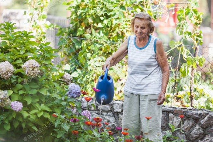 Elderly woman watering plants in her garden
