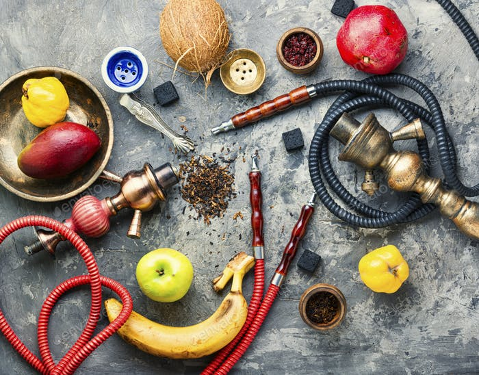 Oriental fruit smoking hookah.
