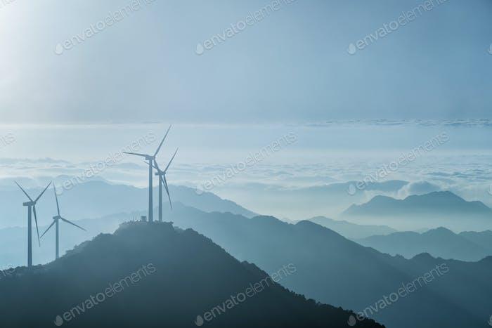 wind turbines on the blue ridge mountains