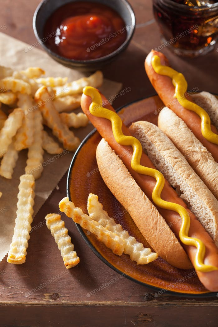 Thumbnail for grilled hot dogs with mustard and french fries