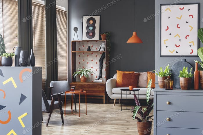 Spacious grey and orange interior