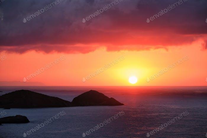 Sea sunset in Greece