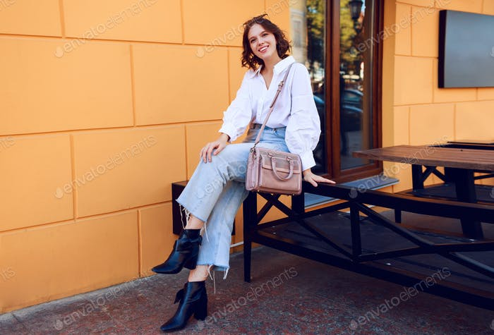 Graceful woman in casual  outfit