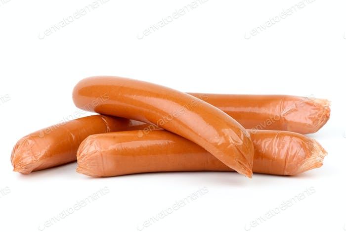 Sausages wrapped in plastic cover