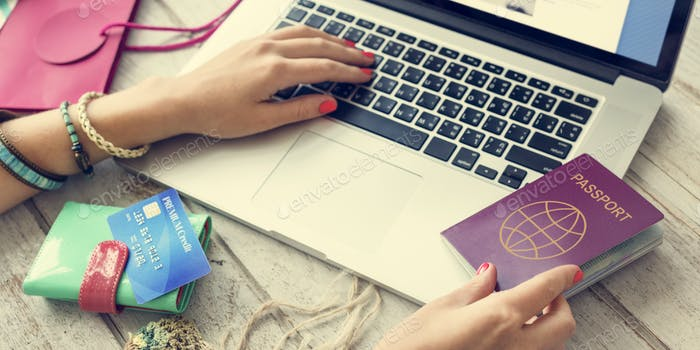 Person Booking Flight Online Concept