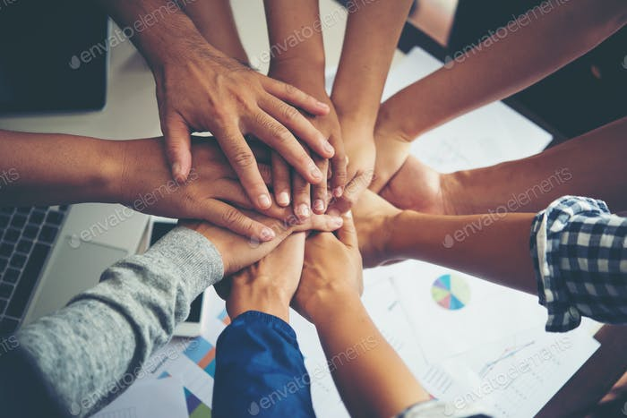 Trabajo en equipo colaboración colaboración, concepto de trabajo en equipo empresarial.