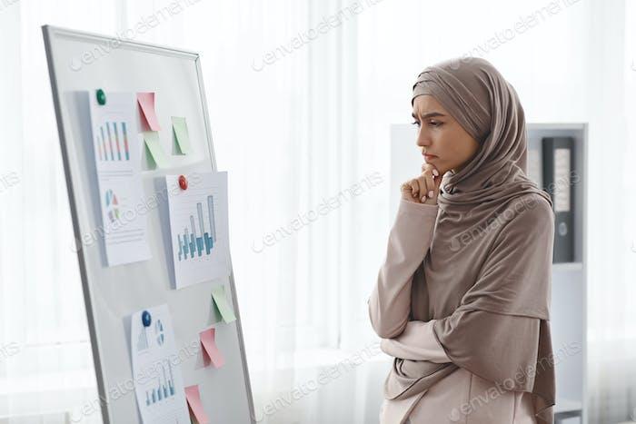 Nachdenkliche muslimische Geschäftsfrau analysiert Graphen und Diagramme auf Bürobrett