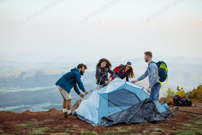 Prepping their campsite