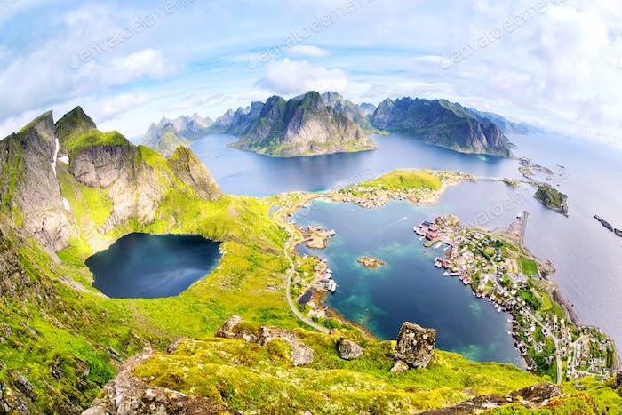 View from Reinebringen at Lofoten Islands