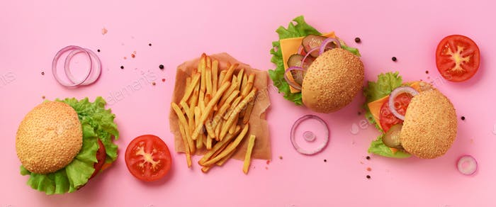 Fast food banner. Juicy meat burgers with beef, tomato, cheese, onion, cucumber and lettuce on pink