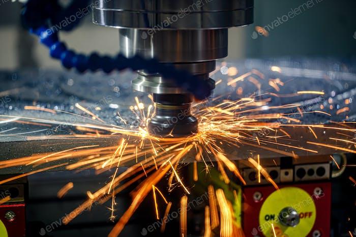 Metalworking CNC lathe milling machine. Cutting metal modern pro