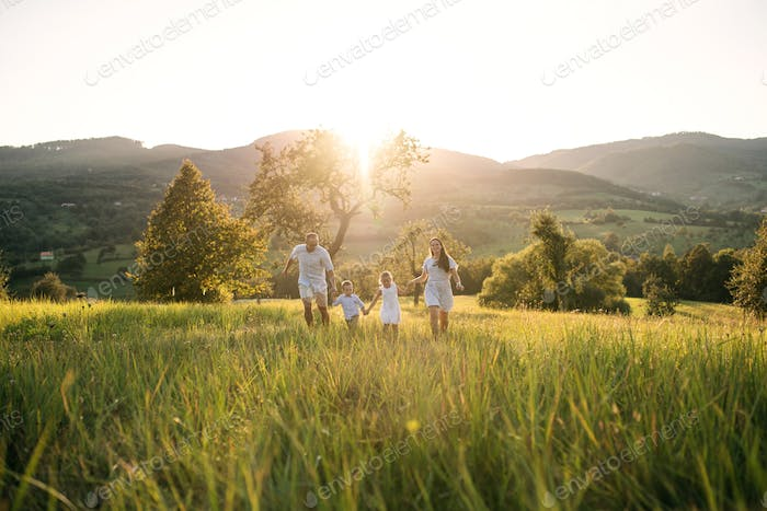 Young family with two small children walking on meadow outdoors at sunset.