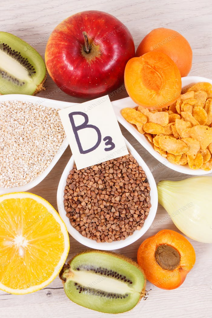 Healthy nutritious food as source minerals, vitamin B3 and dietary fiber