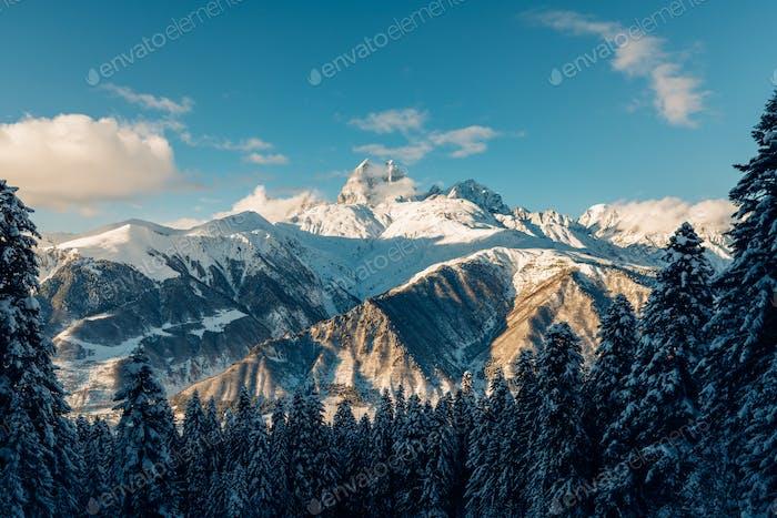 Beautiful snow mountains view