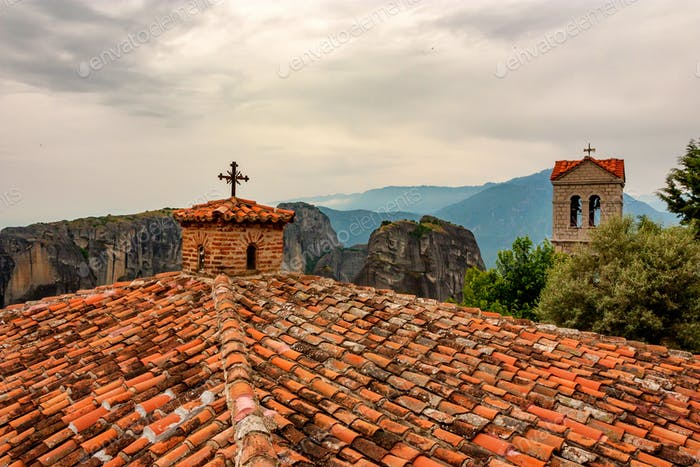 Tile roof of Monastery of Varlaam in Meteora