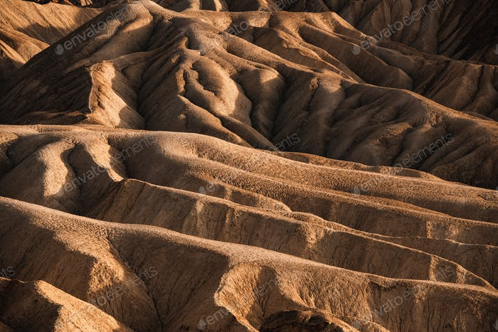 Sci-Fi Mars looking Rocky landscape background at Zabriskie Point, Death Valley NP, California