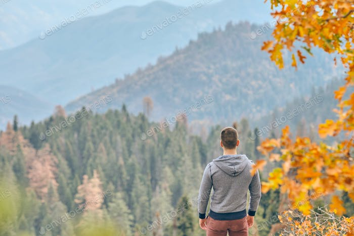 Tourist hiking in Sequoia National Park at autumn