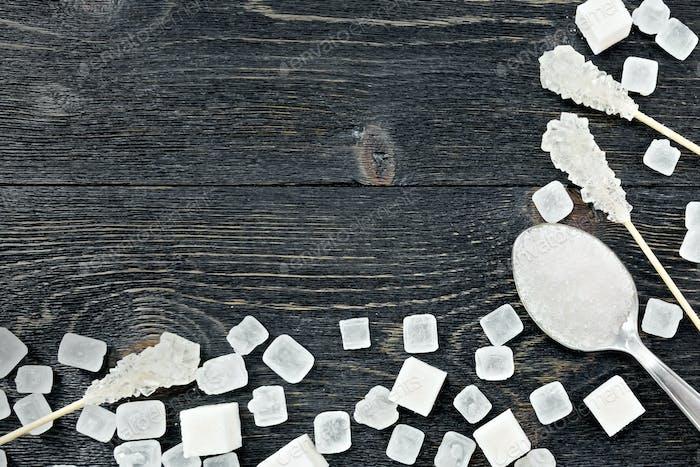 Sugar white on black board frame