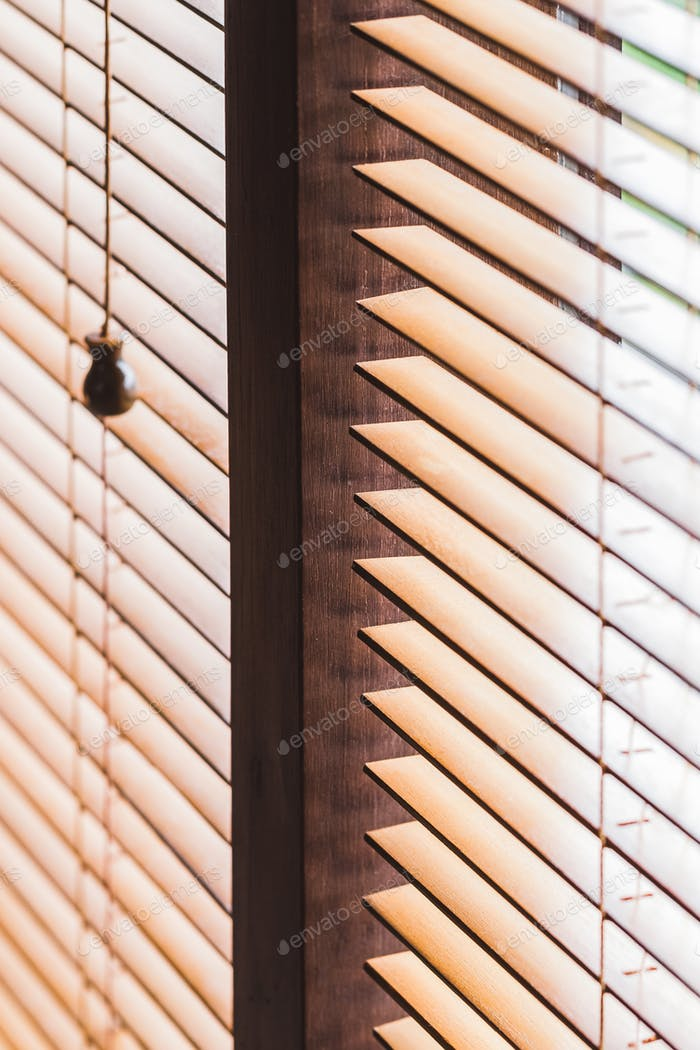 Wooden jalousie closeup. Eco style and concept