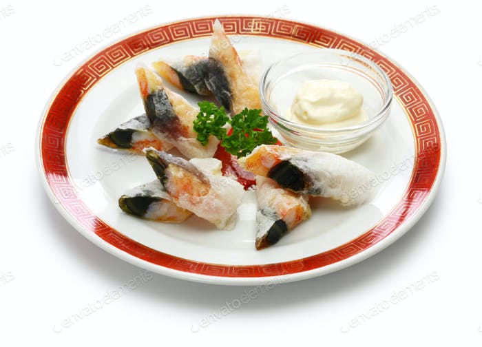 wafer prawn rolls with century egg